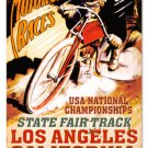 LOS ANGELES MOTORCYCLE RACES LARGE METAL SIGN