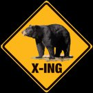 Bear X-ing Embossed Metal Sign
