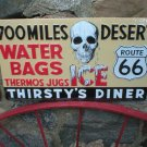 THIRSTY'S DINER EMBOSSED METAL SIGN