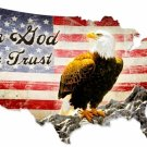 IN GOD WE TRUST UNITED STATES MAP METAL SIGN