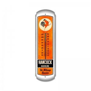 HANCOCK GASOLINE LARGE METAL THERMOMETER