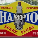 CHAMPION SPARK PLUGS DEALER SERVICE CHECKED CLEANED HEAVY METAL SIGN