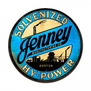JENNEY MANUFACTURING COMPANY SOLVENIZED HY-POWER LARGE METAL SIGN