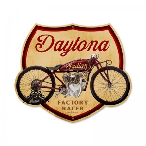 DAYTONA INDIAN FACTORY RACER MOTORCYCLE HEAVY METAL SIGN