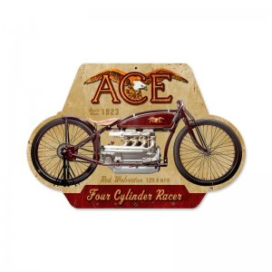 ACE FOUR CYLINDER RACER MOTORCYCLE CUSTOM METAL SHAPE SIGN