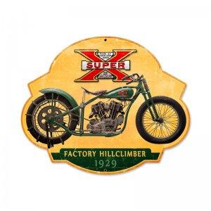 SUPER X FACTORY HILLCLIMBER MOTORCYCLE CUSTOM METAL SHAPE SIGN