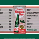 MOUNTAIN DEW MENU BOARD TIN METAL SIGN