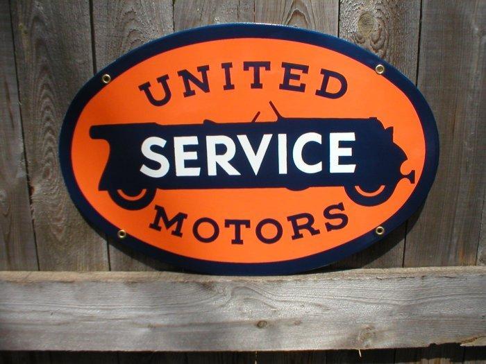 UNITED MOTORS SERVICE PORCELAIN COATED OVAL SIGN