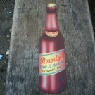 LARGE ROWDY DIE-CUT COLD BEER TIN SIGN METAL RETRO