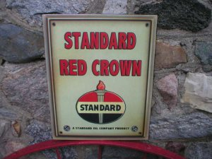 Standard Red Crown Sign Vintage Look Flame Torch Metal Sign Man Cave Decor