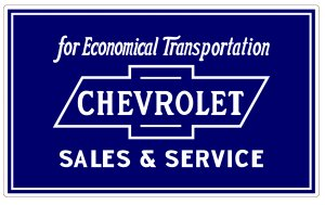 CHEVROLET SALES SERVICE HEAVY METAL SIGN