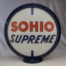 SOHIO SUPREME GASOLINE GAS PUMP GLOBE GLASS LENSES oil filling station DECOR