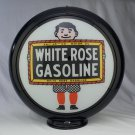 WHITE ROSE GASOLINE GAS PUMP GLOBE GLASS LENSES oil filling station DECOR