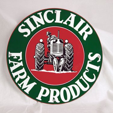 """SINCLAIR FARM PRODUCTS ROUND METAL SIGN 12"""""""