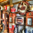 RUSTIC RED & GOLD CROWN GAS PUMPS HEAVY METAL SIGN