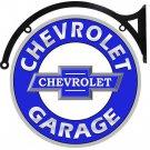 "CHEVROLET GARAGE BOWTIE DOUBLE SIDED 22"" DISK SIGN BRACKET"