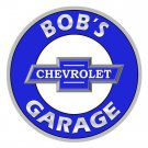 BOB'S CHEVROLET GARAGE PERSONALIZED ROUND METAL SIGN 12""