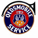 "OLDSMOBILE SERVICE DOUBLE SIDED 22"" DISK SIGN BRACKET"