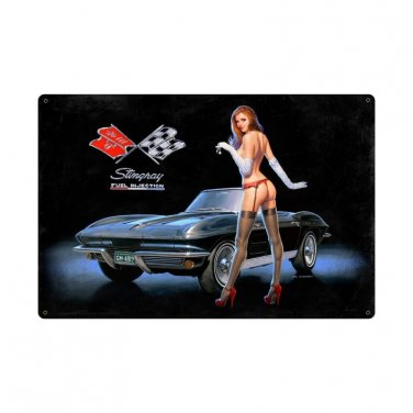 Corvette Stingray Fuel Injection Large Metal Sign