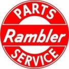 "Rambler Parts & Service Round Metal Sign 12"""