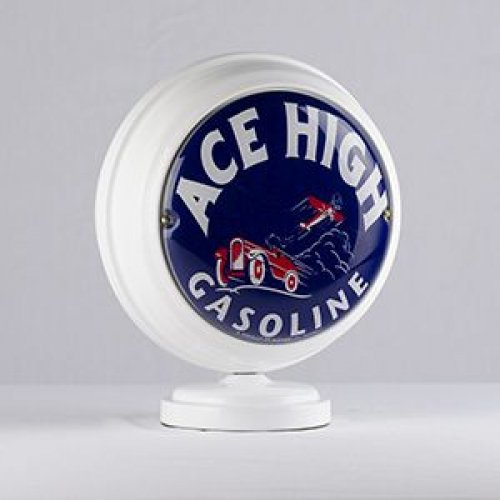 Ace High Mini Globe Lighted Gasoline Sign New Cabin Man Cave Home Decor