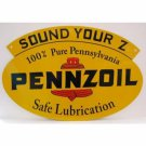 PENNZOIL OVAL DOUBLE SIDED 18 GAUGE METAL SIGN 31""