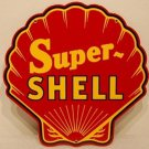 Red Super Shell Gasoline Steel Sign Red Clam Shaped