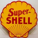 Super Shell Gasoline Steel Sign Yellow Clam Shaped