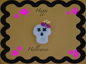 Boutique Polymer Clay Skull Pin Glow in the dark