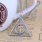 FOR Harry Potter Necklace, Triangle Round Pendant, Vintage Charm Pendant Light silver