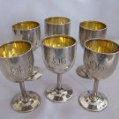 Price reduction* WEBSTER Sterling CORDIALS LIQUOR Cups with GOLD GILDED Interiors  LCD mono