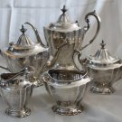 PRICE CUT *  Reed & Barton HEPPLEWHITE ENGRAVED 5 pc Sterling TEA & COFFEE Set