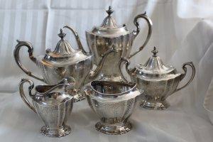 PRICE CUT *  Reed & Barton HEPPLEWHITE ENGRAVED 5 pc Sterling TEA & COFFEE Set
