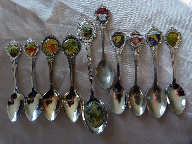 UNITED STATES Souvenir Demi Spoons BIRD FLOWER PARK BICENTENNIAL var metals