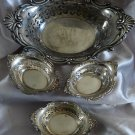 GORHAM CROMWELL Sterling  8 3/8 in. PIERCED NUT FRUIT BON BON BOWL w/6 Individual Nut bowls