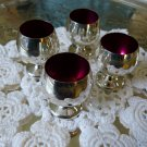 GORHAM Sterling LIQUOR CUPS CORDIALS with RED ENAMEL Linings