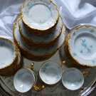 Sale** Hutschenreuther Selb Blue Forget Me Not & Pink Floral Gold Rim China Set