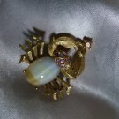 CRAB /CANCER ZODIAK PIN Gold-tone metal & Rhinestones