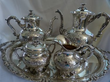 BIG SALE* Exquisite ROSE Pattern Sterling 5 Pc TEA & COFFEE SET Service w/ Sterling Tray