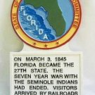 Florida State Histerical Marker Large Handpainted