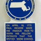Massachusetts State Histerical Marker Large Handpainted