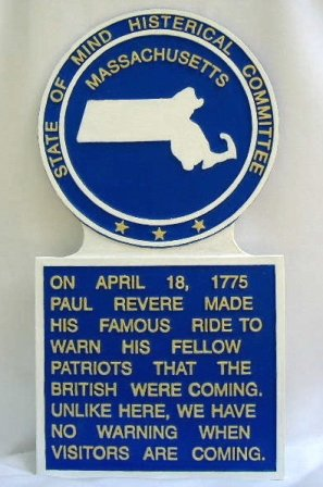 Massachusetts State Histerical Marker Large Handpainted