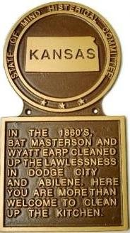 Kansas Histerical Marker State Plaque Large Handpainted