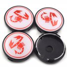 4x60mm Wheel Center Caps Universal White Red Hubcaps Emblems Badges Rim Caps