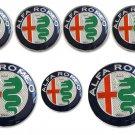 7pcs ALFA ROMEO Badge Stickers 74mm Front/Back +60mm Wheel +40mm Steering Wheel