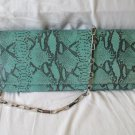 Clutch Purse Chain Snake Skin Pattern Evening Party Purse Green and Black Color