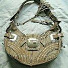 Guess Leather Satchel Handbag Bag Tan Leona Edition Women Purse Shoulder Logo