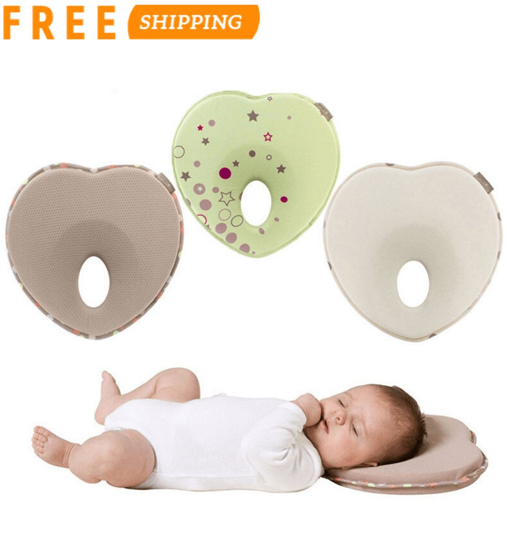 Baby Flat Head Pillow - Newborn Infant Anti Roll Neck Support - Head Shaper