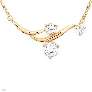 Cubic Zirconia 14K/925 Gold Plated Pendant