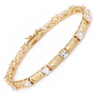 Greek Key Cubic Zirconia Tennis Bracelet 14K/925 Plated Silver